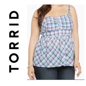 torrid Tops - 🌵Torrid Blue Purple Plaid Babydoll Tank Top 1